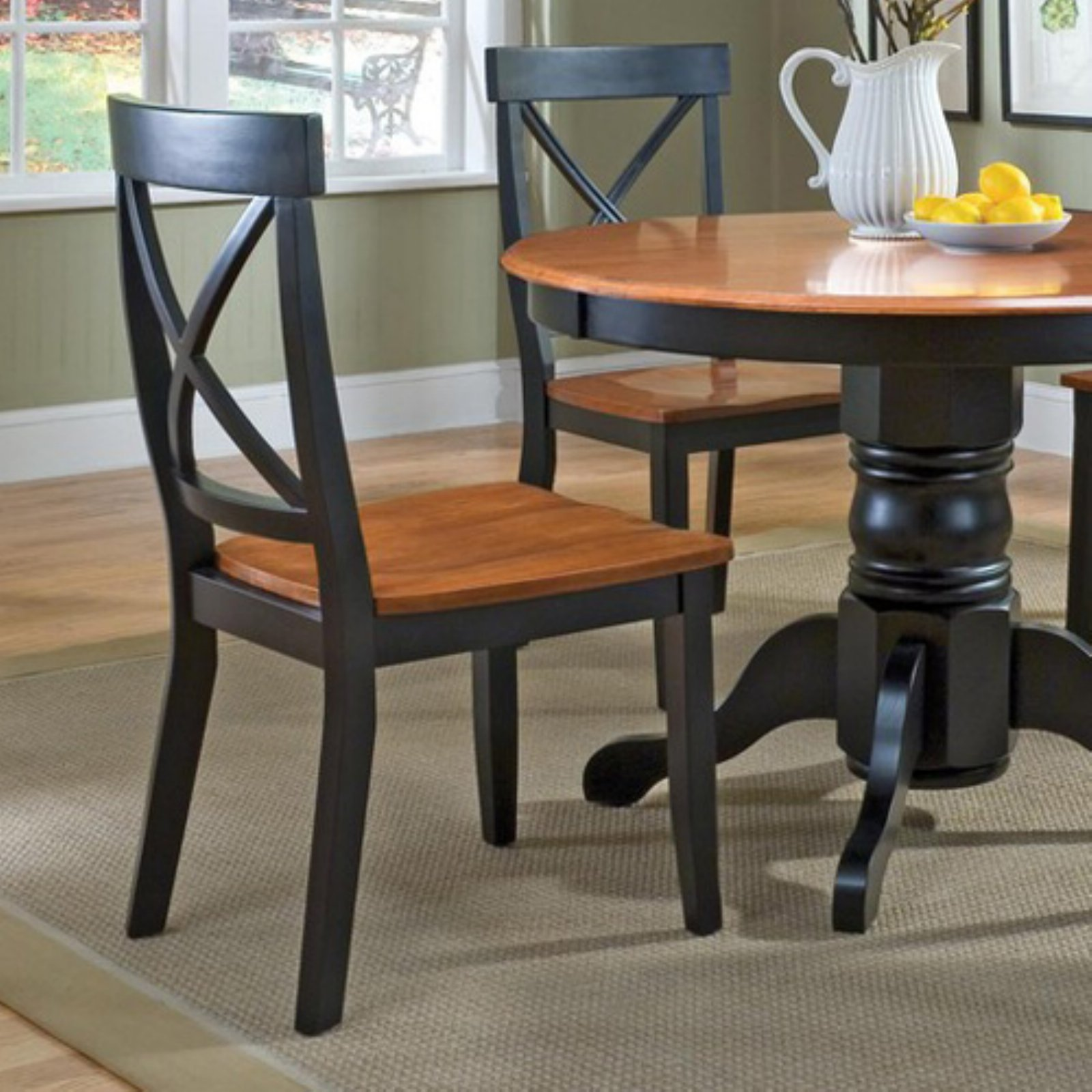 Merveilleux Home Styles Dining Chairs, Black/Cottage Oak, Set Of 2