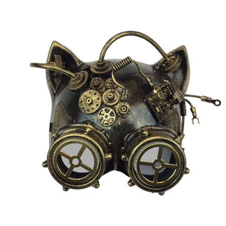 Halloween Steampunk Cosplay Cat with Goggles Face Mask, Gold, One Size - Draw A Halloween Cat Face