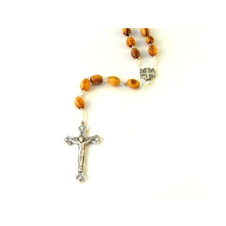 Olive Wood Rosary with the Jerusalem Cross Centerpiece ()