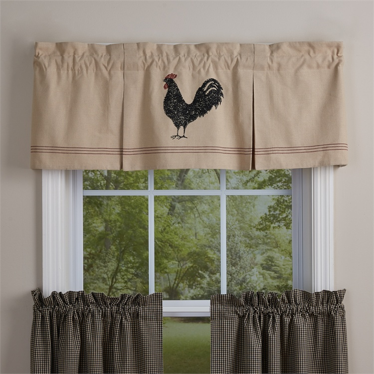 Park Designs Hen Pecked Lined Pleated Valance Rooster