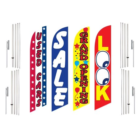 4 Swooper Flags With 4 Pole Kits Used Cars Sale Grand Opening Look