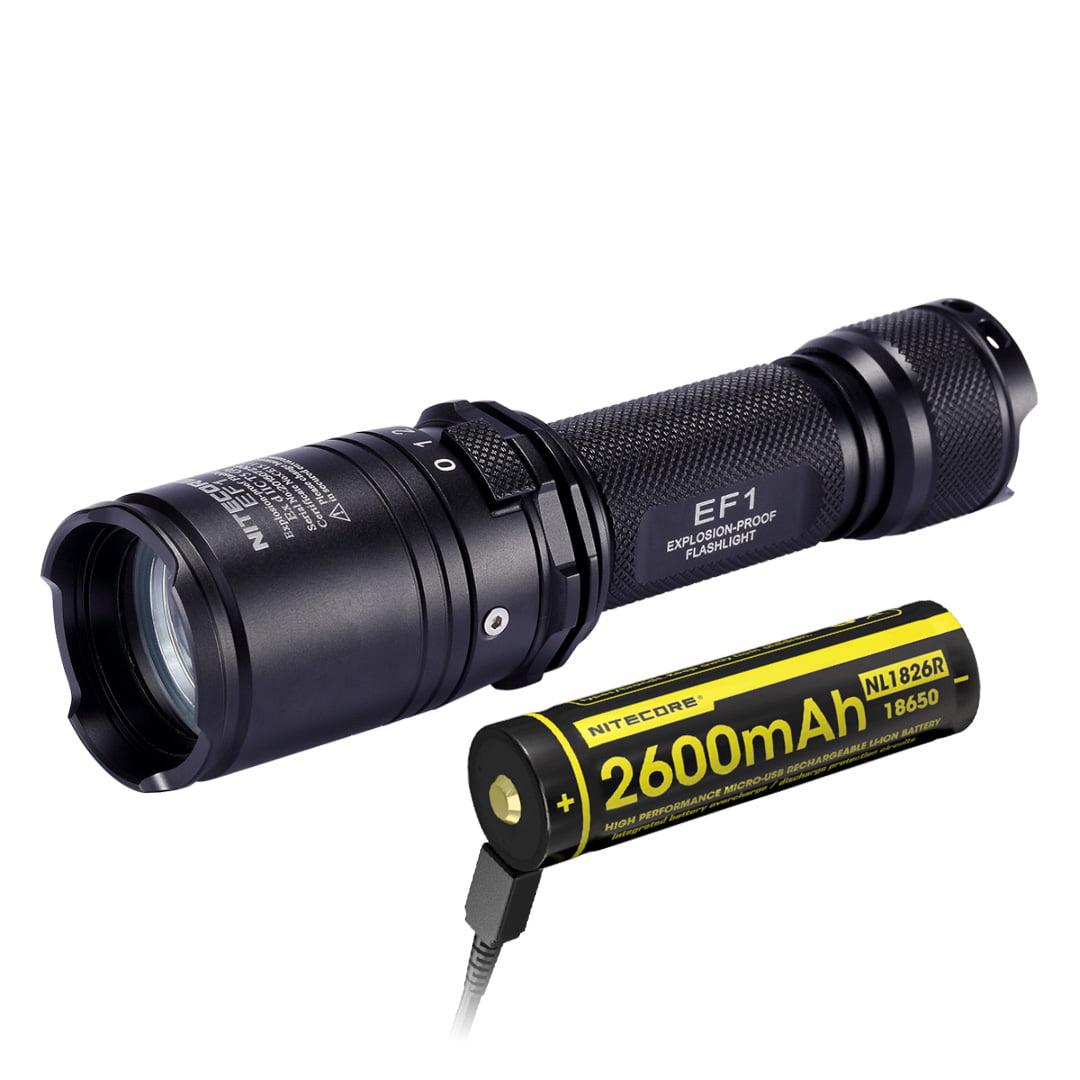 Nitecore EF1 Explosion-Proof Flashlight + NL1826R USB Rec...