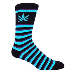 MOXY Socks Premium Purple Haze Skater Crew Socks, Black/Purple/Blue