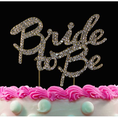 bride to be cake topper gold bling bridal shower cake toppers