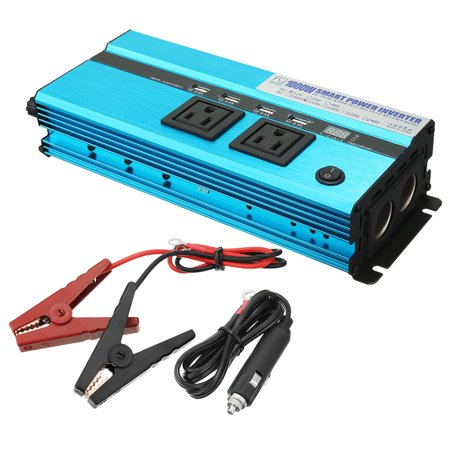 1000W Power Inverter 12VDC to 2 110VAC US Outlets 4 2.4A USB  Display Blue 001 Compaq Display Inverter