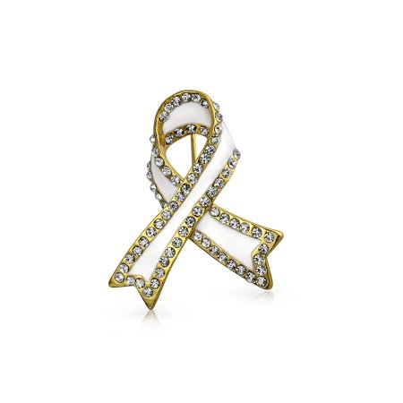 White Ribbon Lung Cancer Survivor Crystal Brooch Pin For Women Enamel Gold Plated