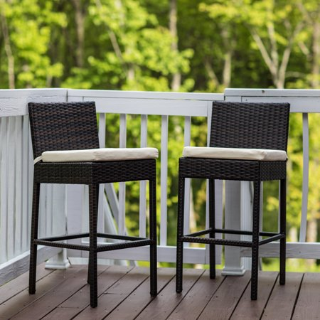 Enjoyable Sundale Outdoor 2 Pcs Brown Wicker Counter Height Bar Stool With Cushions All Weather Patio Furniture Set Pabps2019 Chair Design Images Pabps2019Com