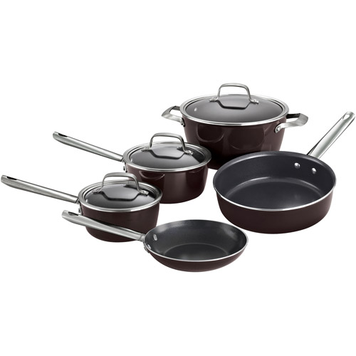 Tramontina Style 8-Piece Porcelain Enamel Non-stick Cookware Set, Conical Black Cherry