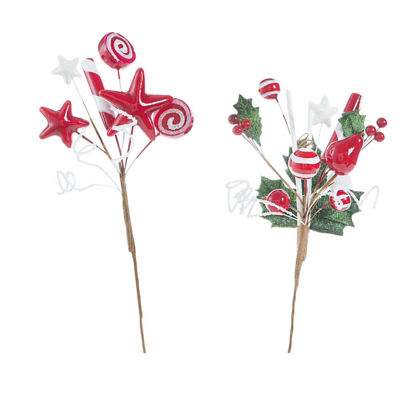 Peppermint Candy Christmas Picks: 11 inches