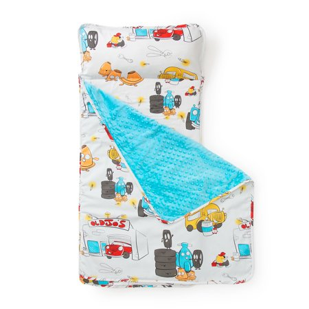 JumpOff Jo - Little Jo's Toddler Nap Mat - Children's Sleeping Bag for Daycare and Sleepovers - Jo's Garage - 43 x 21