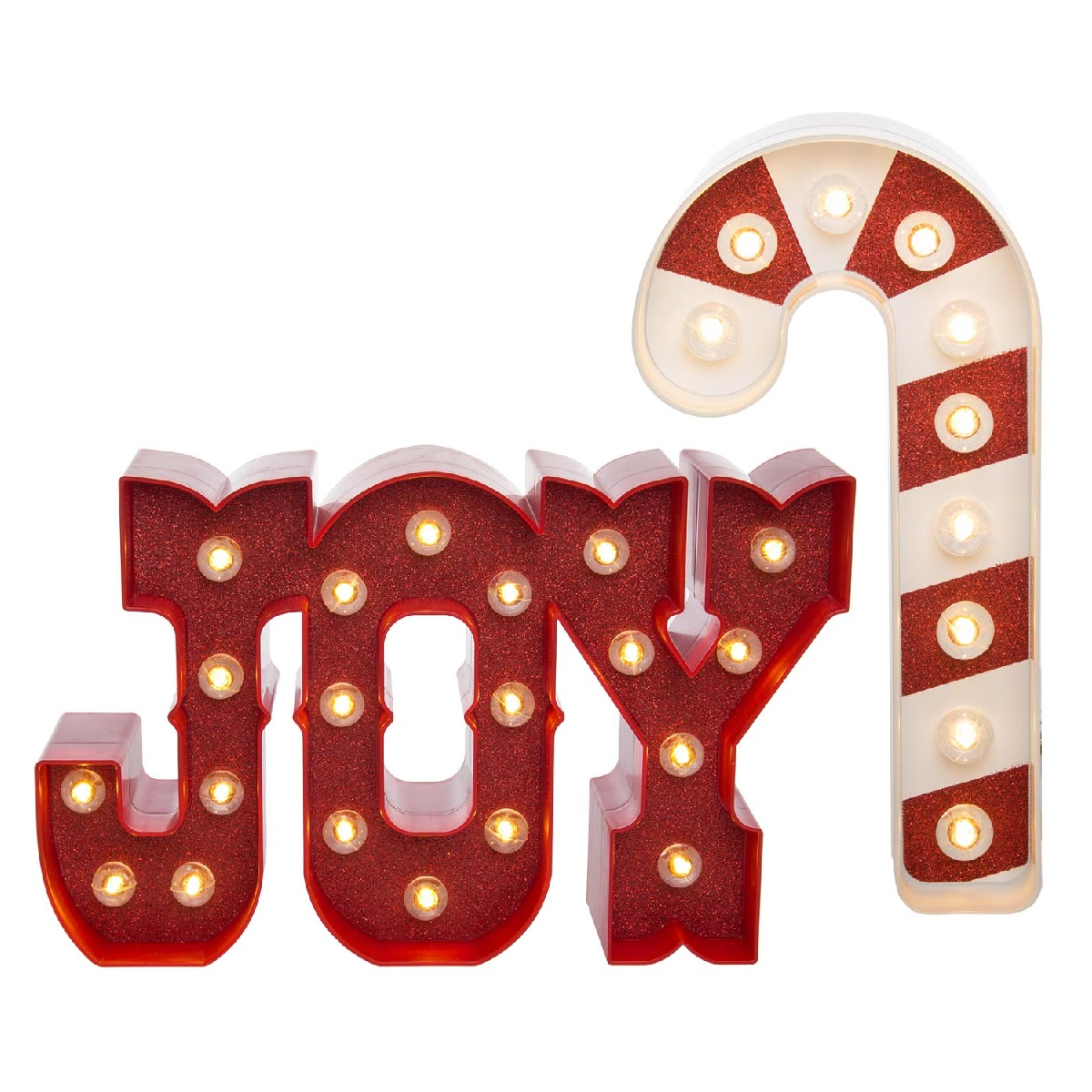 Heidi Swapp (Set of 2) LED Lighted Marquee Holiday Sign Kits Joy & Candy Cane Christmas Décor Home Decorations