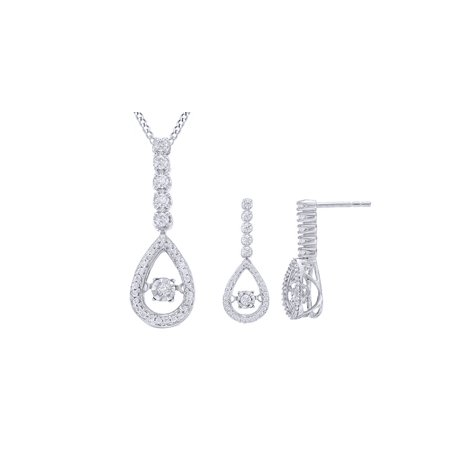 10k White Gold Jewelry Set ((1/2 Ct) Dancing Natural Diamond Linear Teardrop Jewelry Set In 10K Solid White)