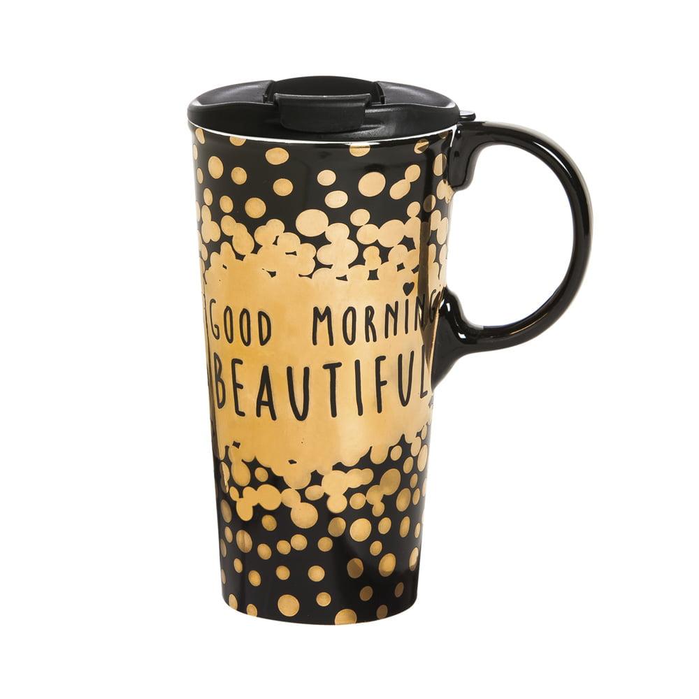 Cypress Home Good Morning Beautiful Ceramic Travel Coffee Mug, 17 ounces