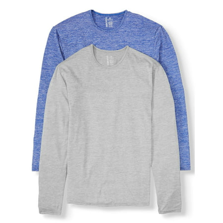 Blue Star Clothing Mens SUPER VALUE 2 Pack Performance Heathered Long Sleeve Crewneck