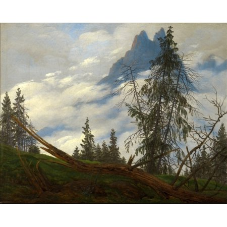 Mountain Peak With Drifting Clouds Canvas Art   Caspar David Friedrich  18 X 24