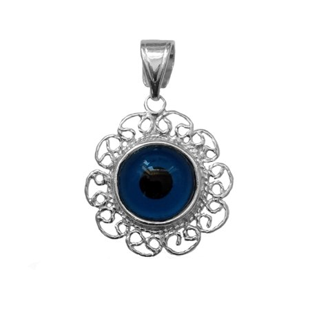 Sterling Silver Filigree Double Sided Evil Eye Pendant Charm - image 1 de 1
