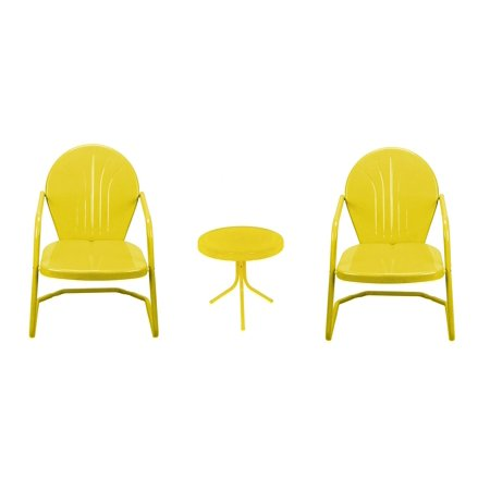 3 Piece Yellow Retro Metal Tulip Chairs And Side Table