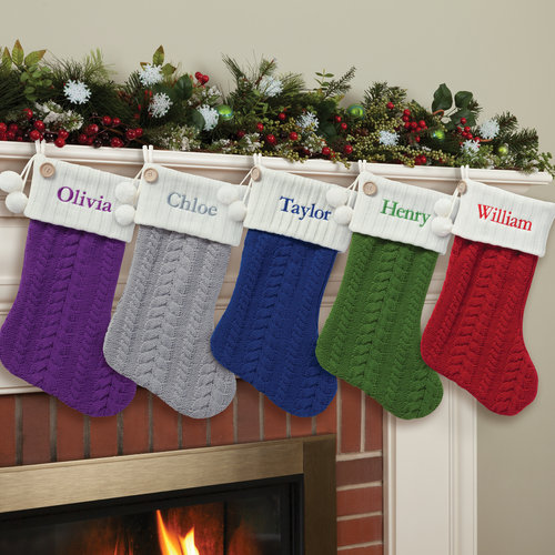 Personalized Cable Knit Christmas Stocking, Available in 8 Colors