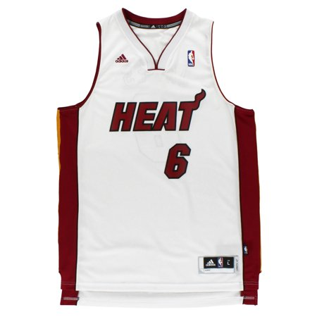timeless design 38ca4 41612 Adidas Lebron James Heat 6 Basketball Jersey White