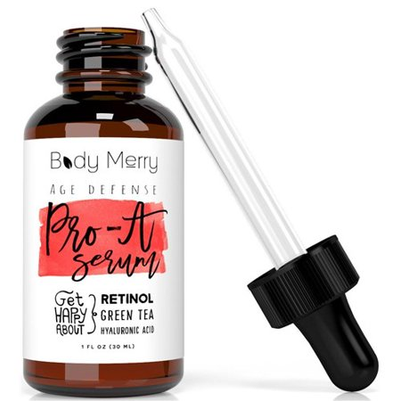 Body Merry Pro-A Serum - Advanced anti-aging retinol serum w/ natural aloe, Vitamin E & hyaluronic acid to combat wrinkles / fine lines, discoloration / hyperpigmentation & acne for face /