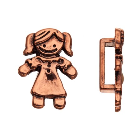 Girl In Dress Antique Brass-Plated Flat Leather Cord Charm Fits 7.5mm Cord, 18x7mm