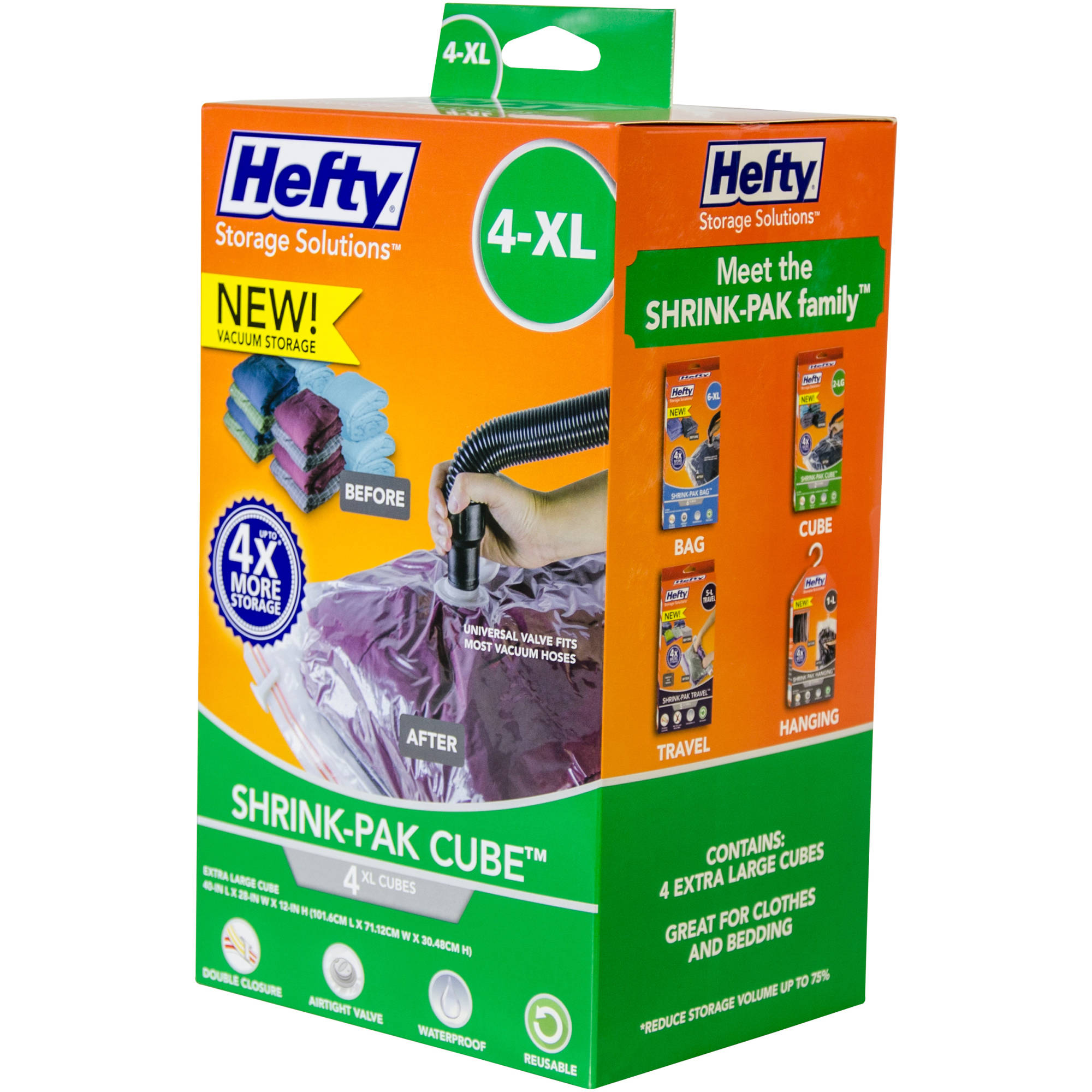 Hefty Shrink-Pak Vacuum Seal Bags, 4 X-Large Cubes