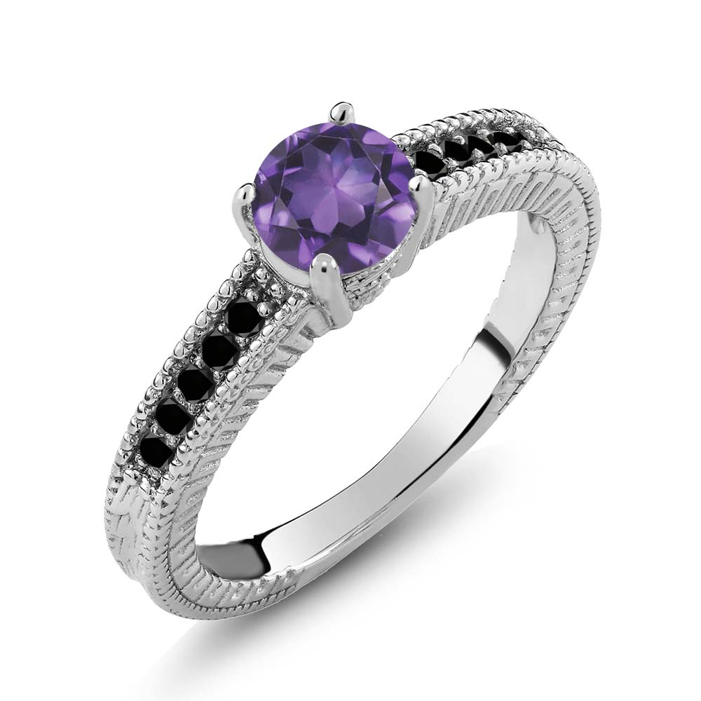 0.92 Ct Round Purple Amethyst Black Diamond 925 Sterling Silver Engagement Ring