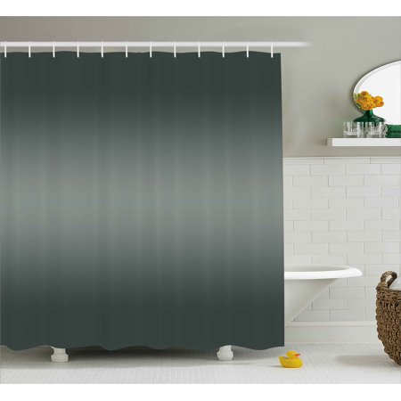 Ombre Shower Curtain Fume Fog Dark Smoke Industry Theme Inspired Greenish Gray Colored Modern Fabric Bathroom Set With Hooks Charcoal Grey Pale