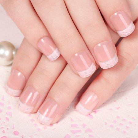 24Pcs Fake Fingernail Tips French Art Full Cover False Finger Nail Tips Set for DIY Manicure](Pinterest Diy Halloween Nails)