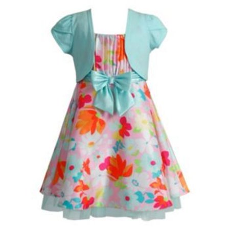 Youngland Girl Floral Dress & Shrug Set Pink Mint 4