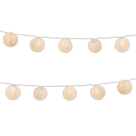 JH Specialties Inc. Electric String Lights with 10-piece White Round Nylon Lanterns](Red And Black Paper Lanterns)