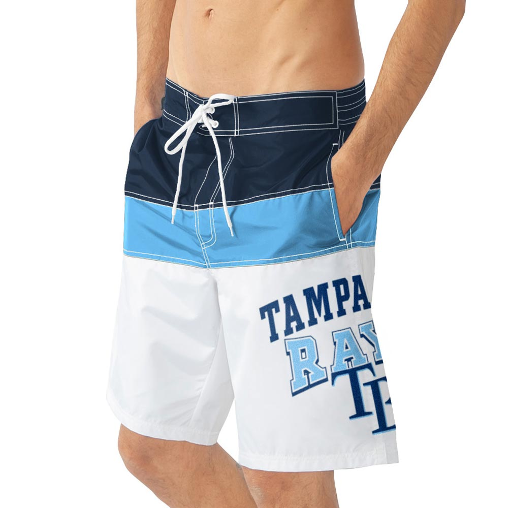 Tampa Bay Rays G-III Sports by Carl Banks Home Run Swim Trunks - White