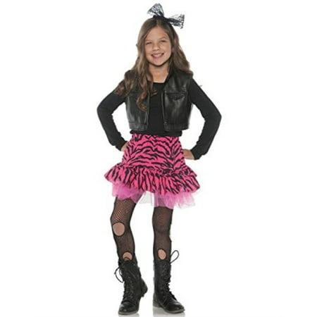 Little Girl's 80's Retro Flashback Valley Girl Zebra Rocker Costume (80's Valley Girl Costume Medium)