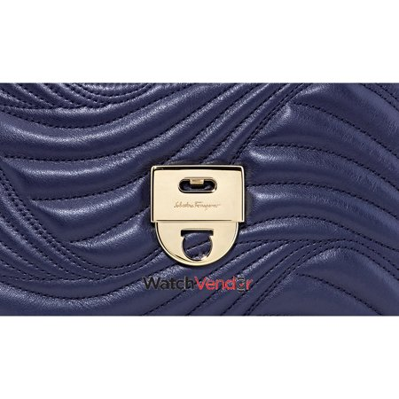 Salvatore Ferragamo Lexi Small Quilted Leather Shoulder Bag- Mirto - image 5 of 5
