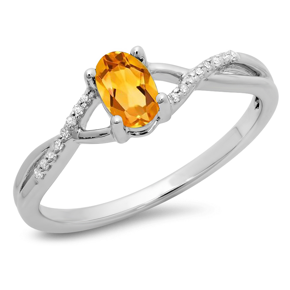 Dazzling Rock 0.50 Carat (ctw) 14K White Gold Oval Cut Citrine & Round Cut White Diamond Ladies Bridal Swirl Split Shank Engagement Pr