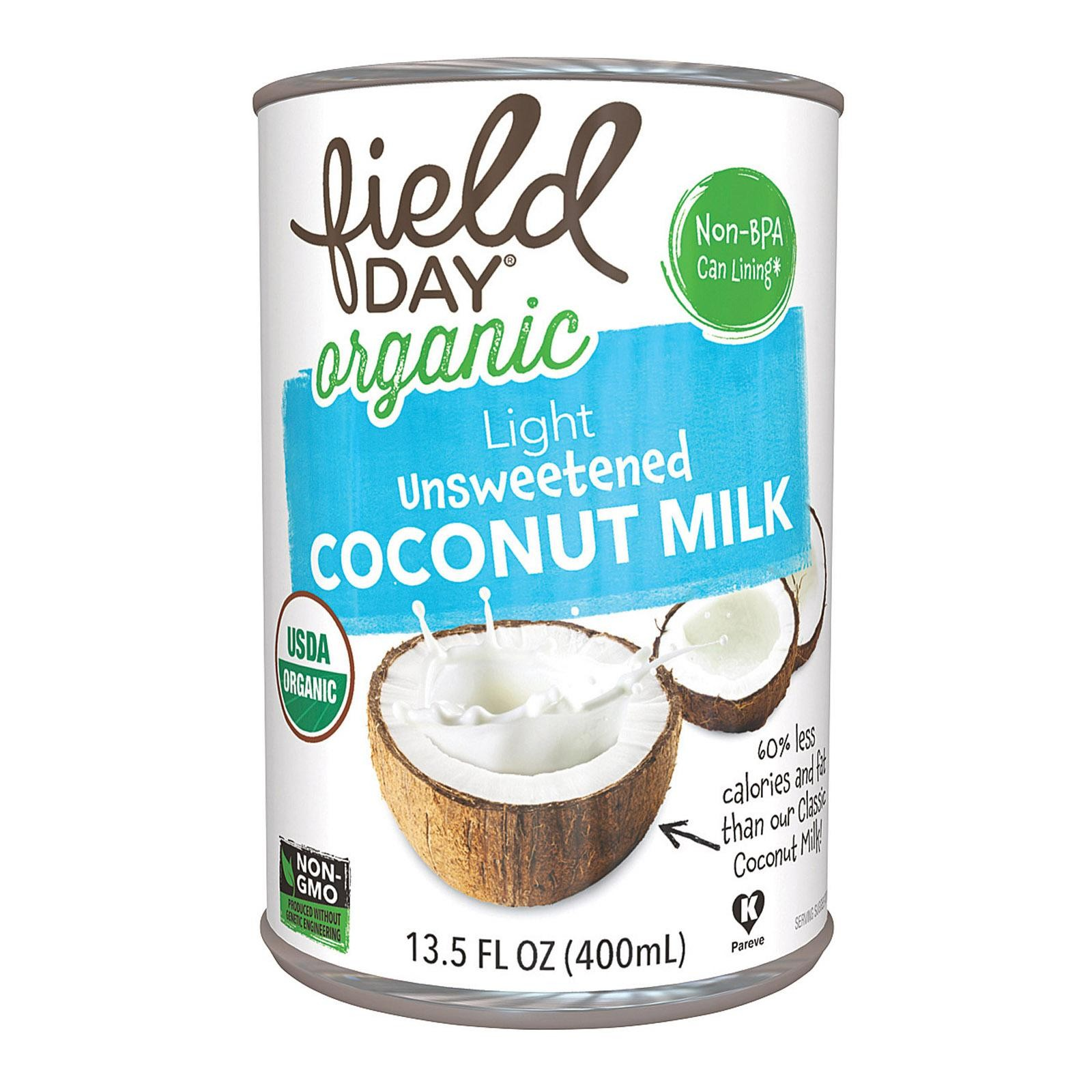 Field Day Organic Light Unsweetened Coconut Milk - Coconut Milk - pack of 12 - 13.5 Fl Oz.
