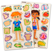 Quokka Wooden Puzzles for Toddlers 2 3 4 5 Year Olds - 2 Pack - Kids Matching Game for Learning Human Body Parts Anatomy Skeleton, Educational Preschool Wood Toys for Kids Ages 2-4