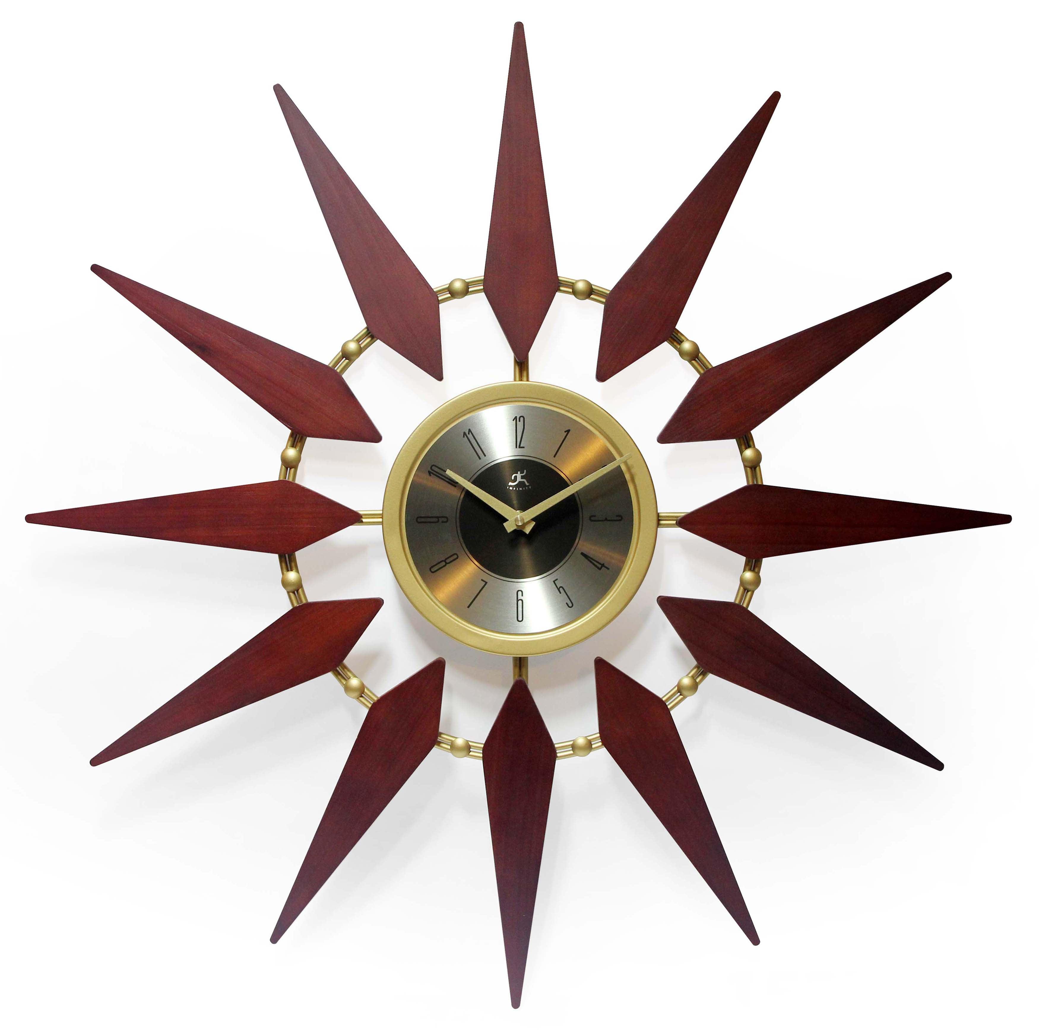 30 inch Mid-Century Gold Walnut Sunburst Wall Clock, Orion by Infinity Instruments