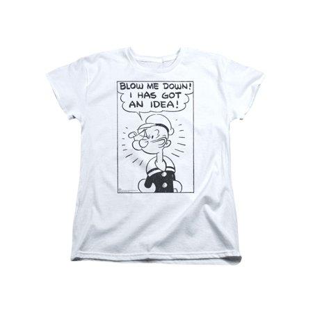 Popeye The Sailor Man Cartoon Blow Me Down! I Has Got An Idea Women's T-Shirt (Sailor Ideas)