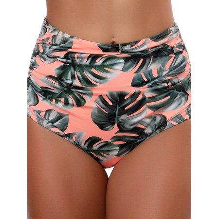 High Waist Ruched Bikini Bottom for Women, Floral Print Tankini Trunks Shorts Briefs Swimming Panties Bathing Swimwear Swimsuit Beachwear
