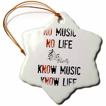 3dRose No music No life Know music Know life picture of music notes, Snowflake Ornament, Porcelain, 3-inch ()
