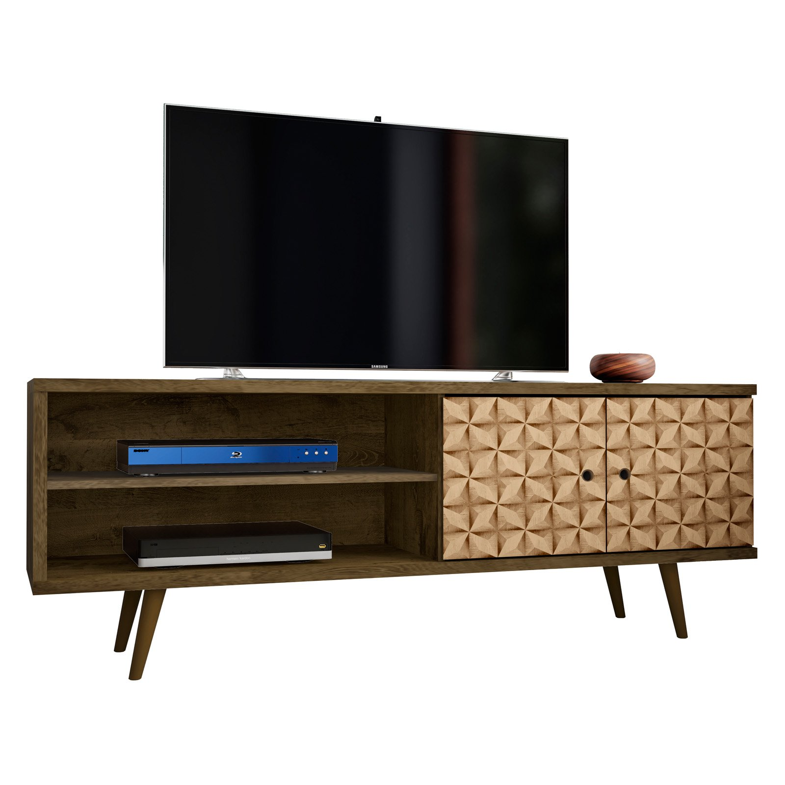 Liberty 62 99 Mid Century Modern Tv Stand With 3 Shelves And 2