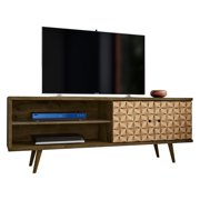 "Liberty 62.99"" Mid Century - Modern TV Stand with 3 Shelves and 2 Doors in Rustic Brown and 3D Brown Prints"