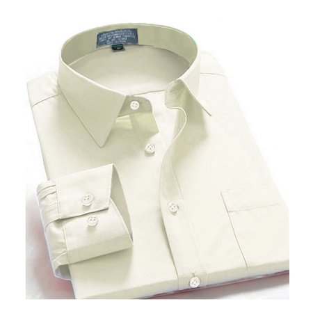 Men Dress Shirt Regular Fit Oxford Solid Color Snow White 5Xl Long Sleeve 38 39