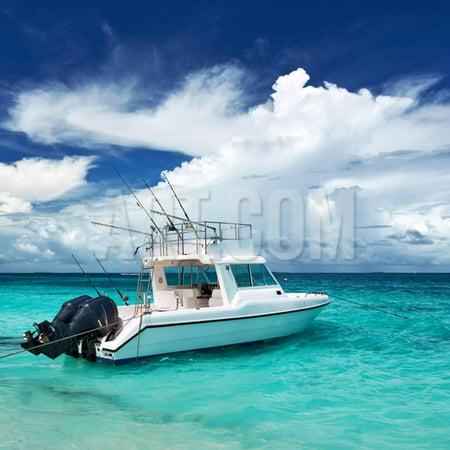 Island Motor (Beautiful Island Beach with Motor Boat at Maldives Print Wall Art By haveseen)