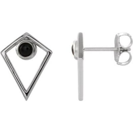 14K White Gold Onyx Cabochon Pyramid Earrings Gemstone Fashion Finished (Pair) Cabochon Designer Earrings