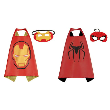 Ironman & Spiderman Costumes - 2 Capes, 2 Masks with Gift Box by Superheroes](Spider Cape)