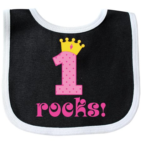 Inktastic 1st Birthday Rocks Pink Princess Crown Baby Bib First Girls Cute Gift For Idea Babys Turning 1 Number Year Old One Clothing Infant Hws