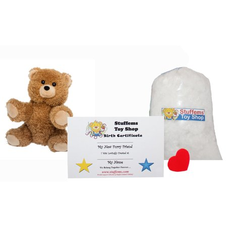 Make Your Own Stuffed Animal Mini 8 Inch Brown Terry Bear Kit - No Sewing Required!
