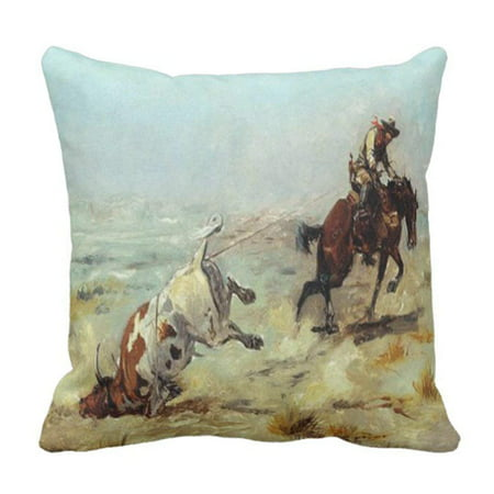 Rodeo Cowgirl Pillow (ARTJIA Cowgirl Vintage Western Cowboy Roping Steer Rodeo Pillowcase Cushion Cover 16x16)